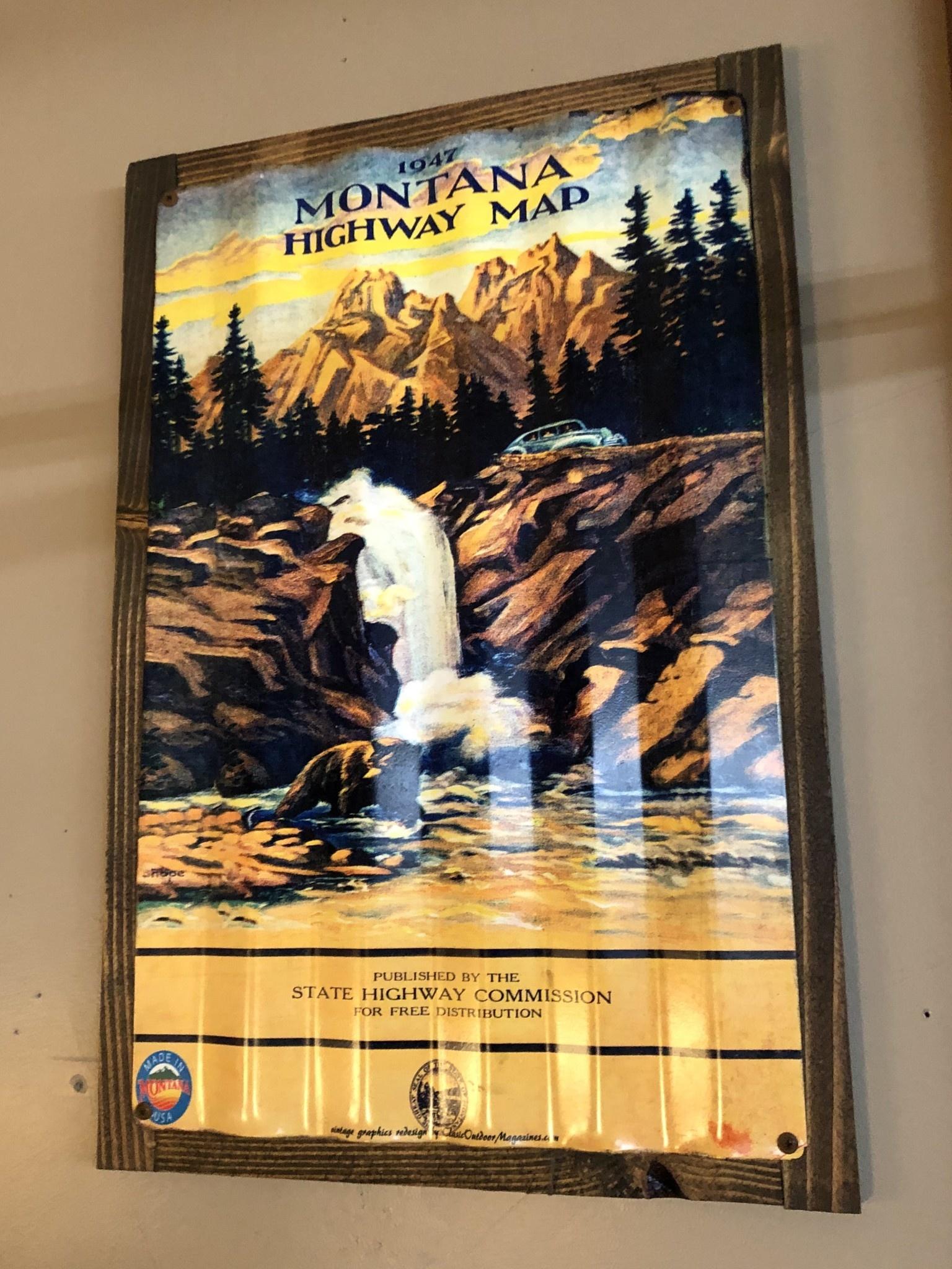 Classic Outdoor Magazines #9  1947 Montana Map 12x15 Metal Sign