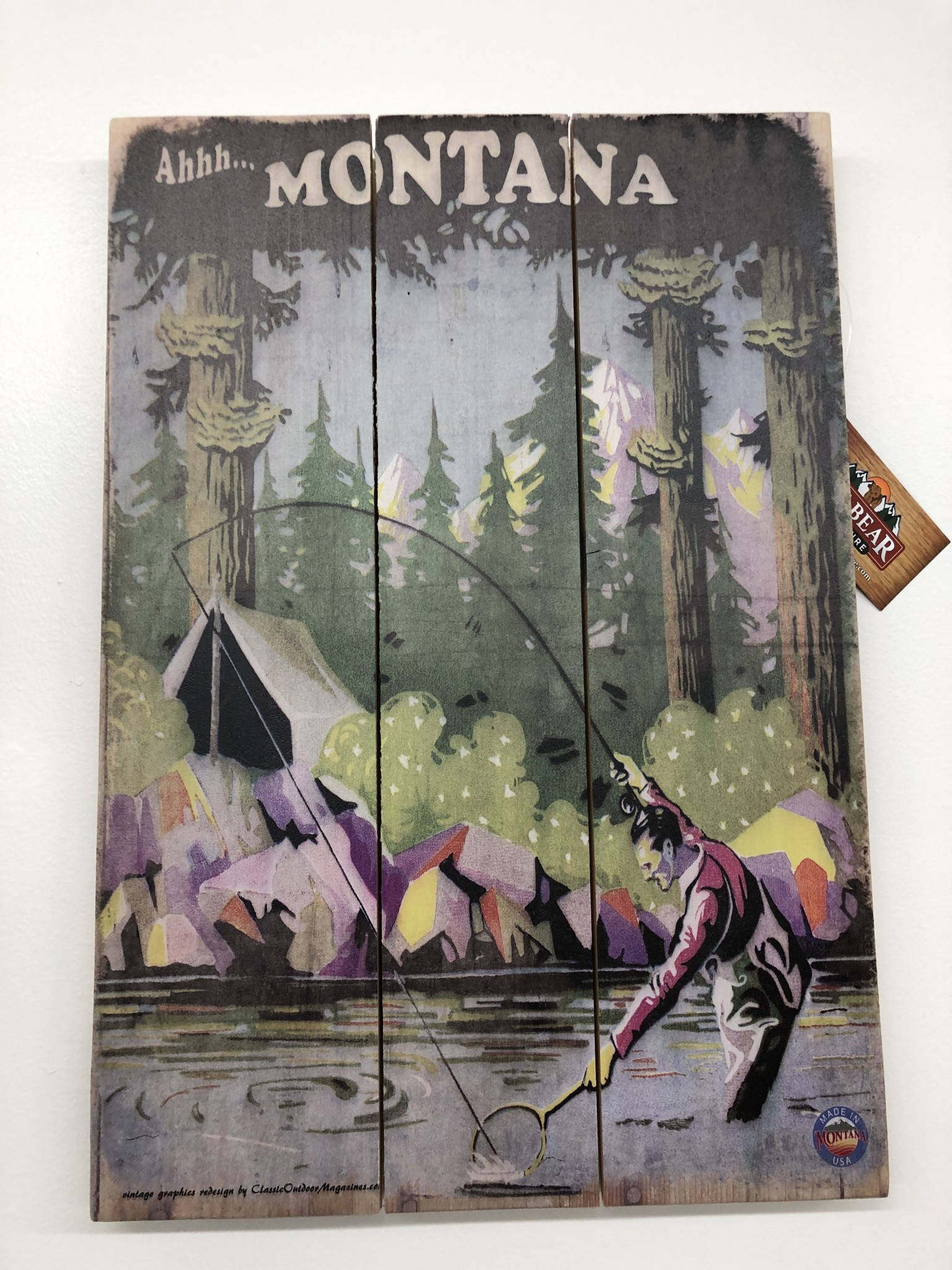 Classic Outdoor Magazines #1 Stream Angler 14x20 Wood Sign