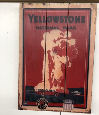 Classic Outdoor Magazines #13  Yellowstone Red Bus 14x20 Wood Sign