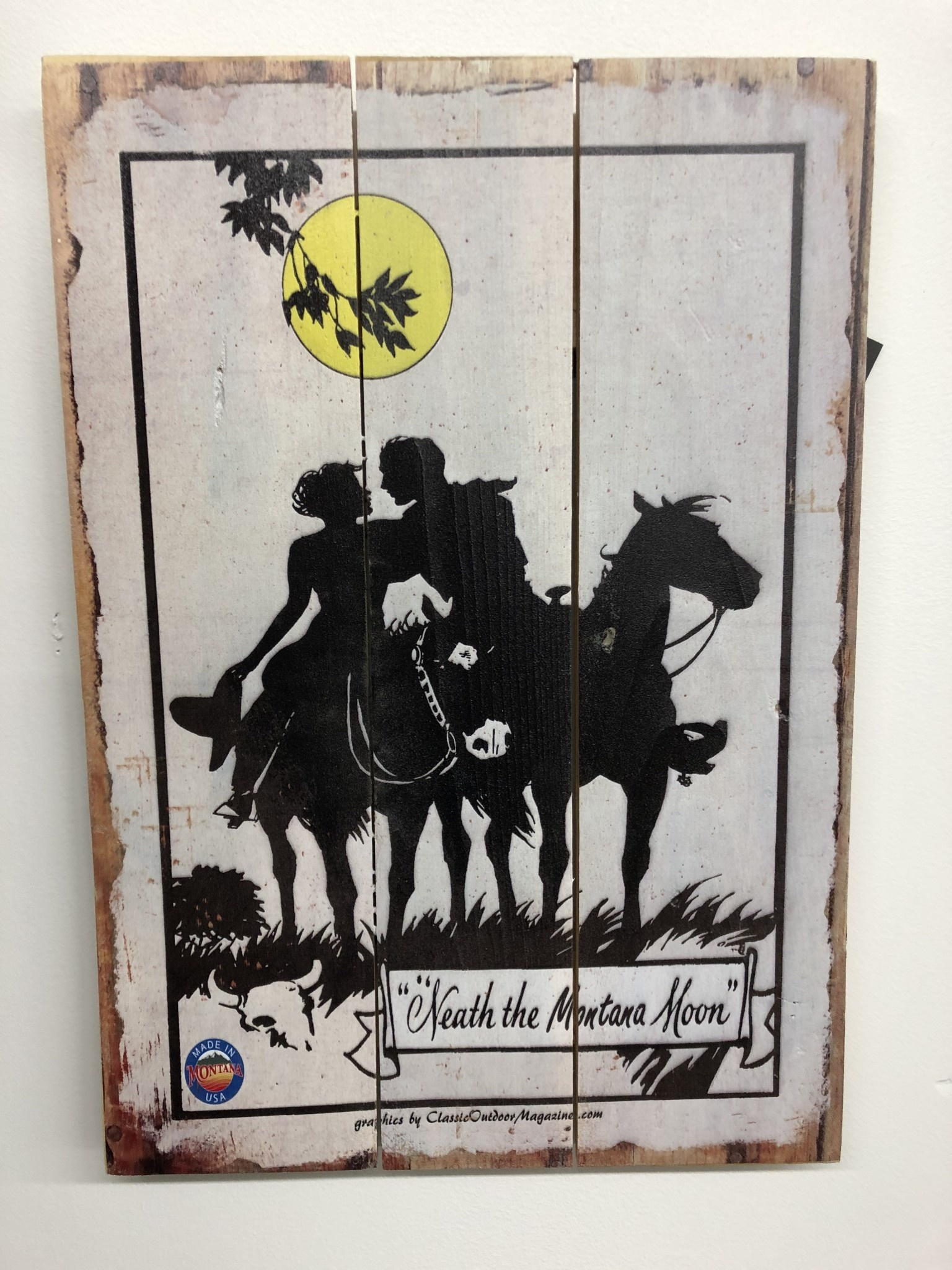 Classic Outdoor Magazines #21  Neath A Montana Moon 14x20 Wood Sign