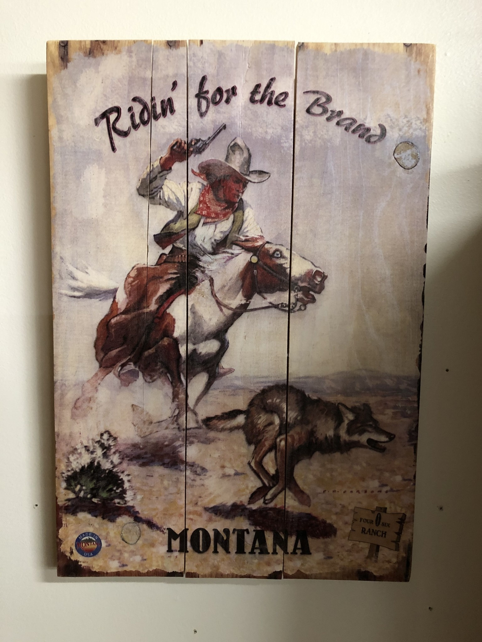 Classic Outdoor Magazines #22  406 Ranch Ridin' the Brand 14x20 Wood Sign