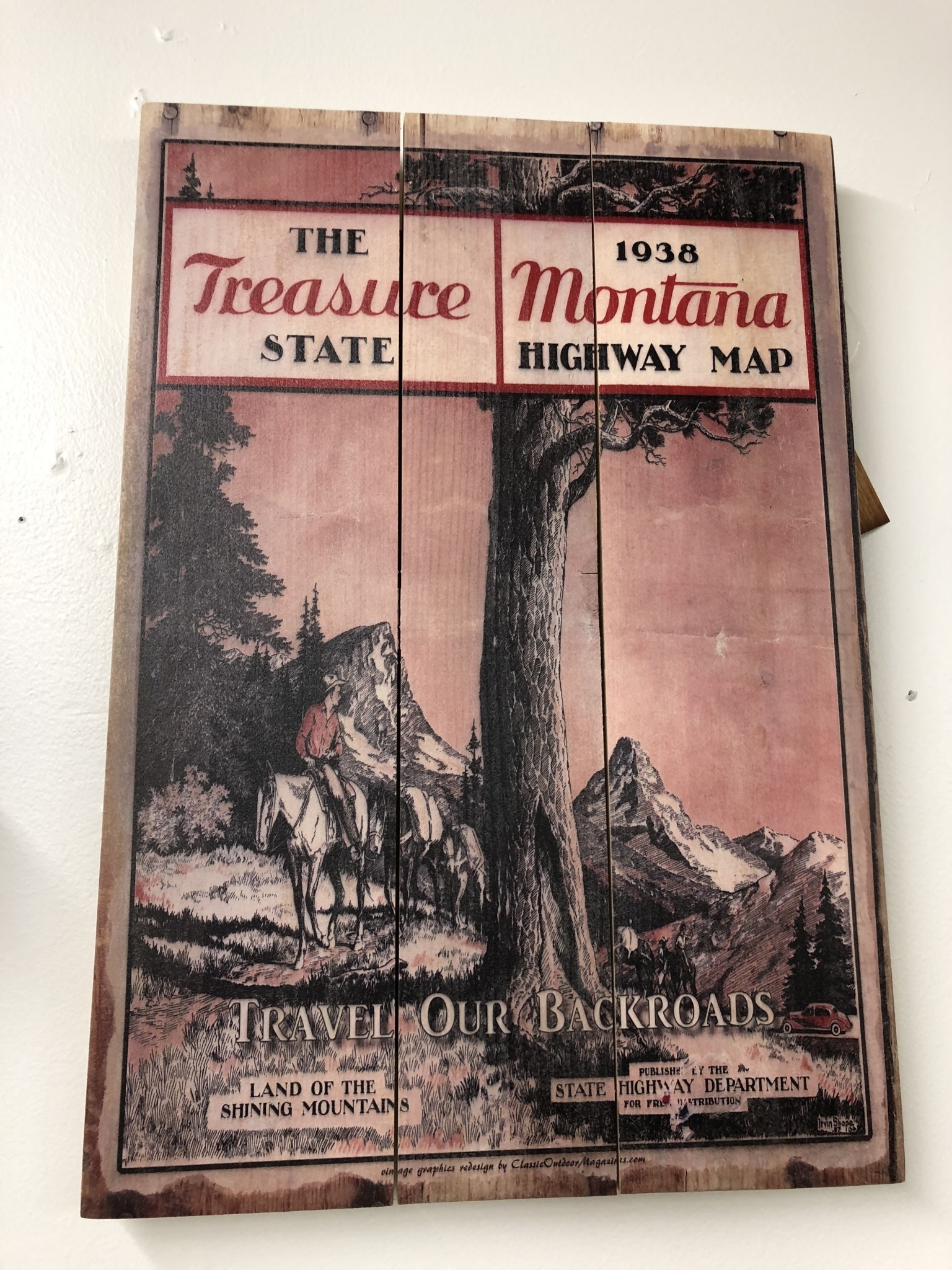 Classic Outdoor Magazines #5  1938 Montana Map  14x20 Wood Sign