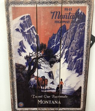 Classic Outdoor Magazines #8 1941 Montana Map 14x20 Wood Sign