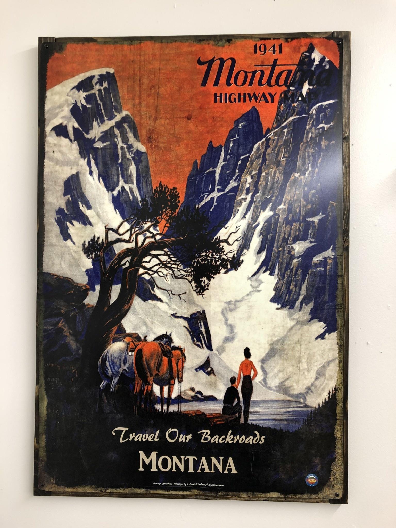 Classic Outdoor Magazines #8  1941 Montana Map 12x15 Metal Sign