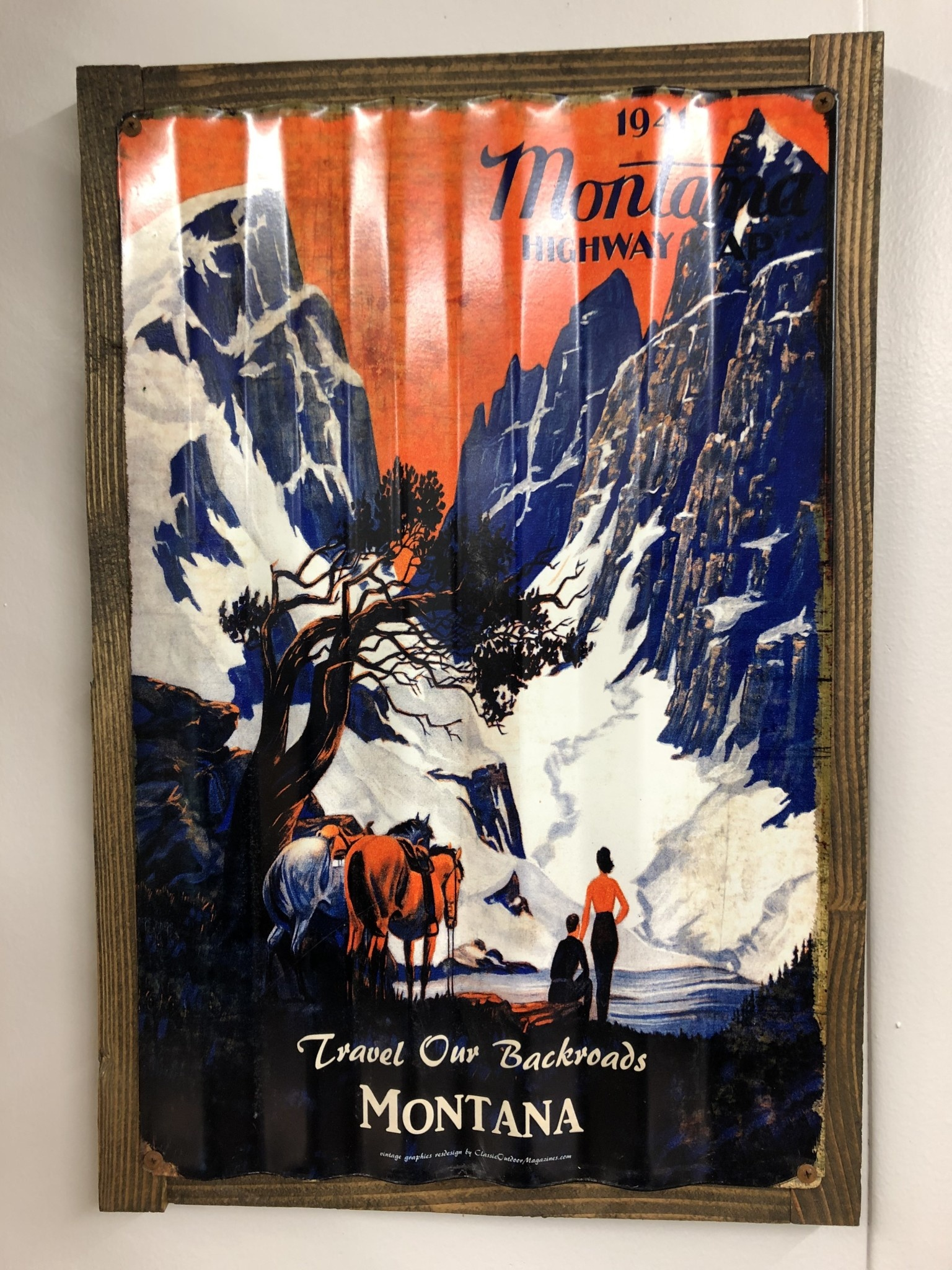 Classic Outdoor Magazines #8  1941 Montana Map Corrugated 17x24