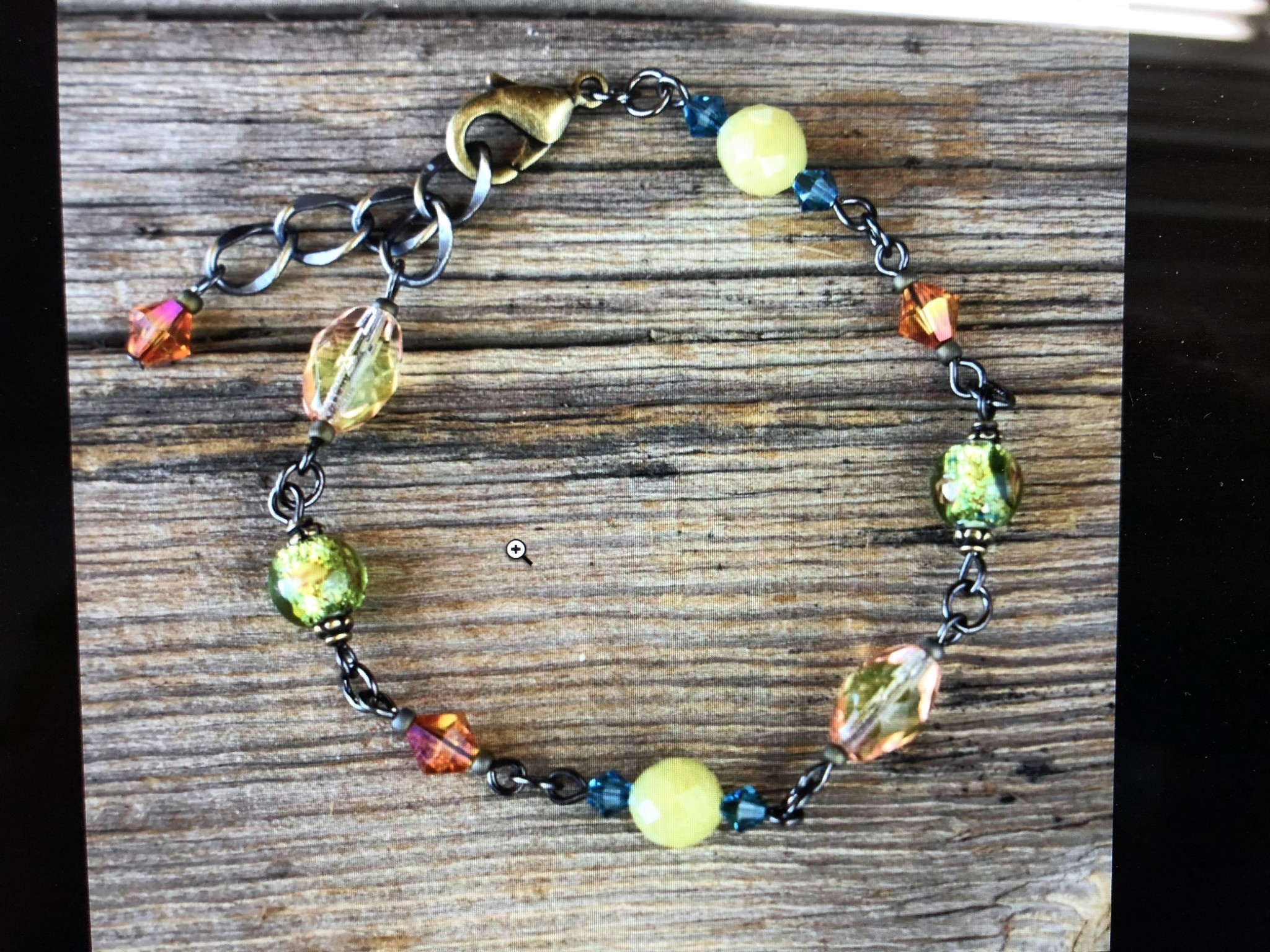 cool water jewelry BC102-199 Bracelet: YL Jade/Foil/Crystals/Glass Beads, Happy Together