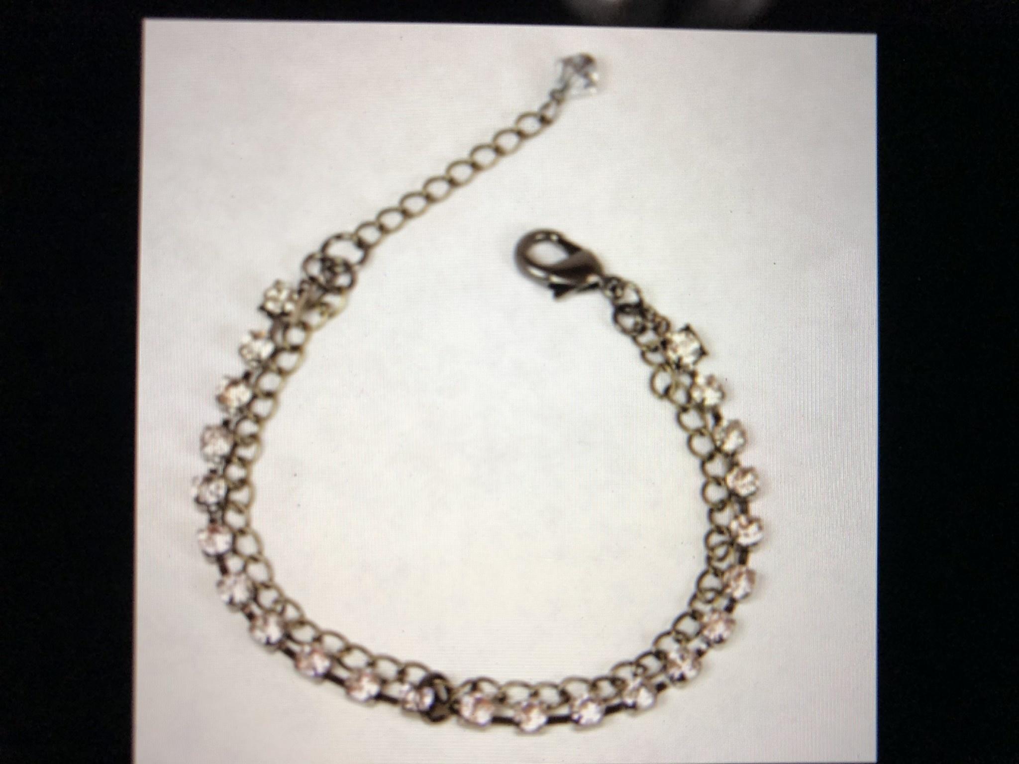 cool water jewelry BC26-50 Bracelet: MT Millworks-Dbl Strand Curb Chain/Rhine
