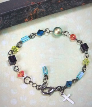 cool water jewelry BC32157 Bracelet: Beads/Cross Charm,Stained Glass Window