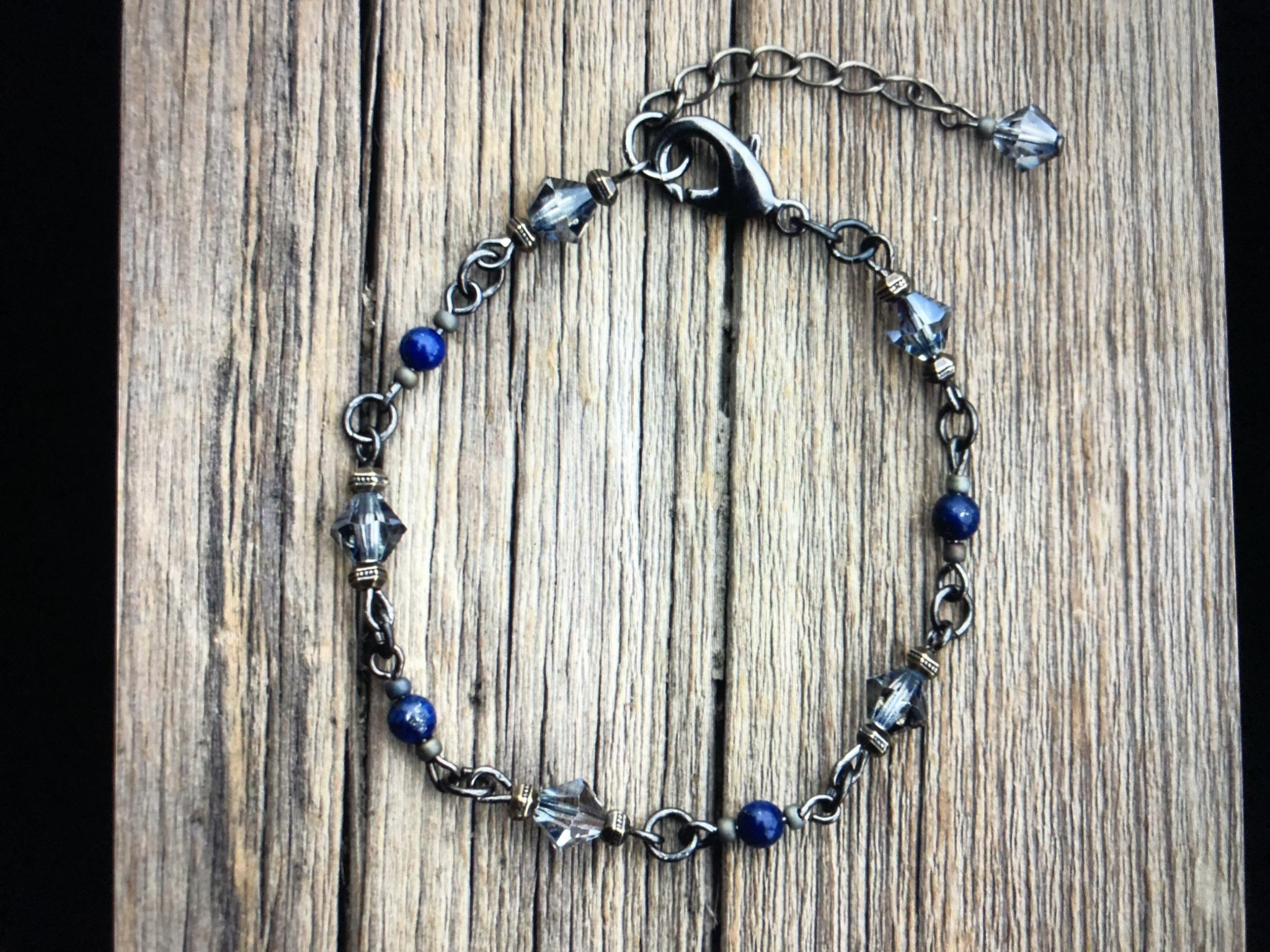 cool water jewelry BC60-179 Bracelet:Night Lights-Lapis & Czech Crystals
