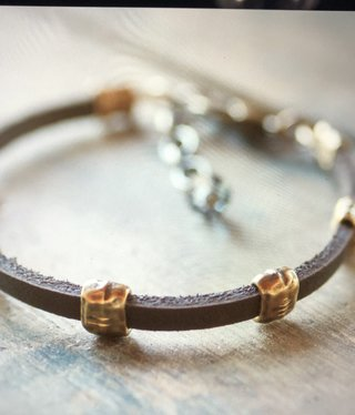 cool water jewelry BC66 Bracelet: Leather w/5 Hammered Brass Rings