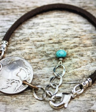 cool water jewelry BC73 Bracelet: Leather Cord/Buffalo Nickel/Turquoise