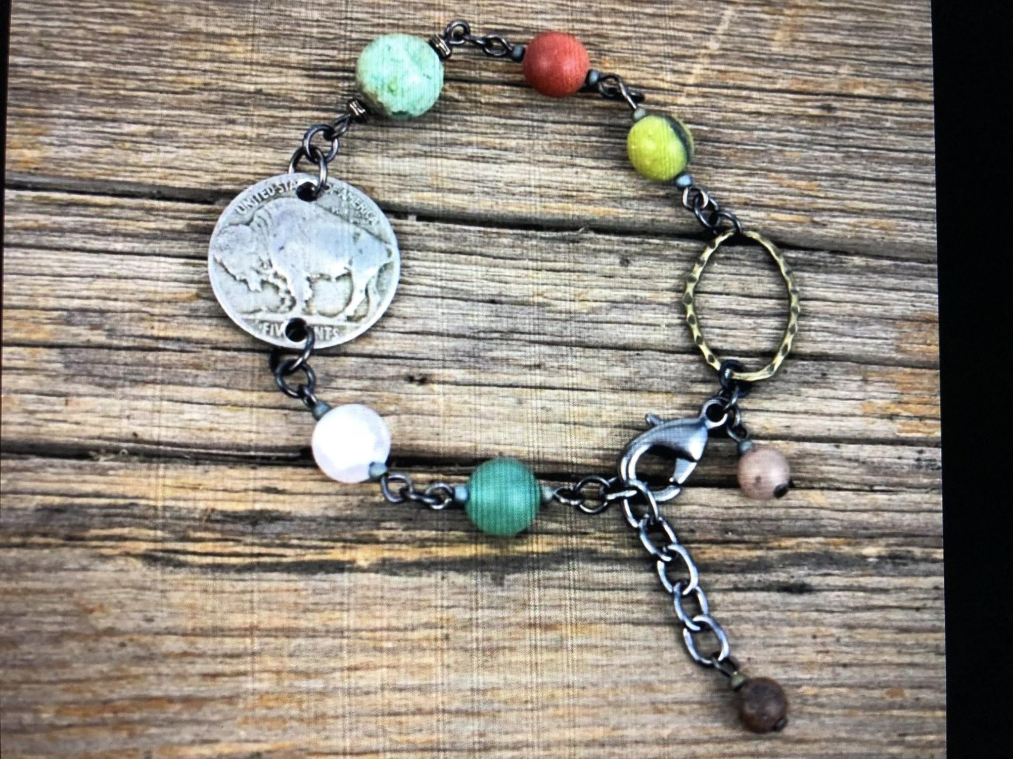 cool water jewelry BC90 Bracelet: Buffalo Nickel/Brass Oval/Matte Gemstones