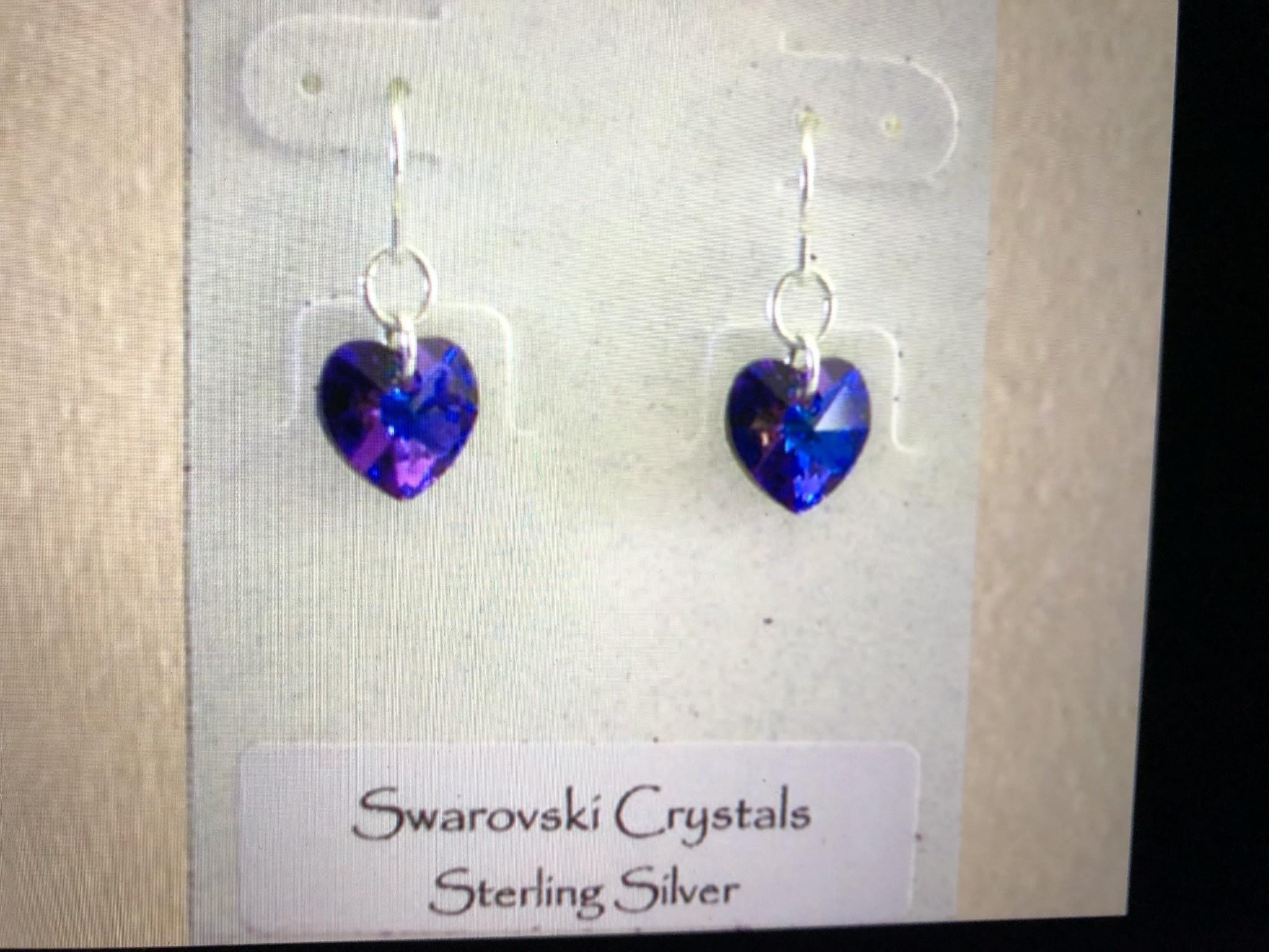 cool water jewelry EW232-117 Swarovski Crystal Hear/Purple/Heliotrope