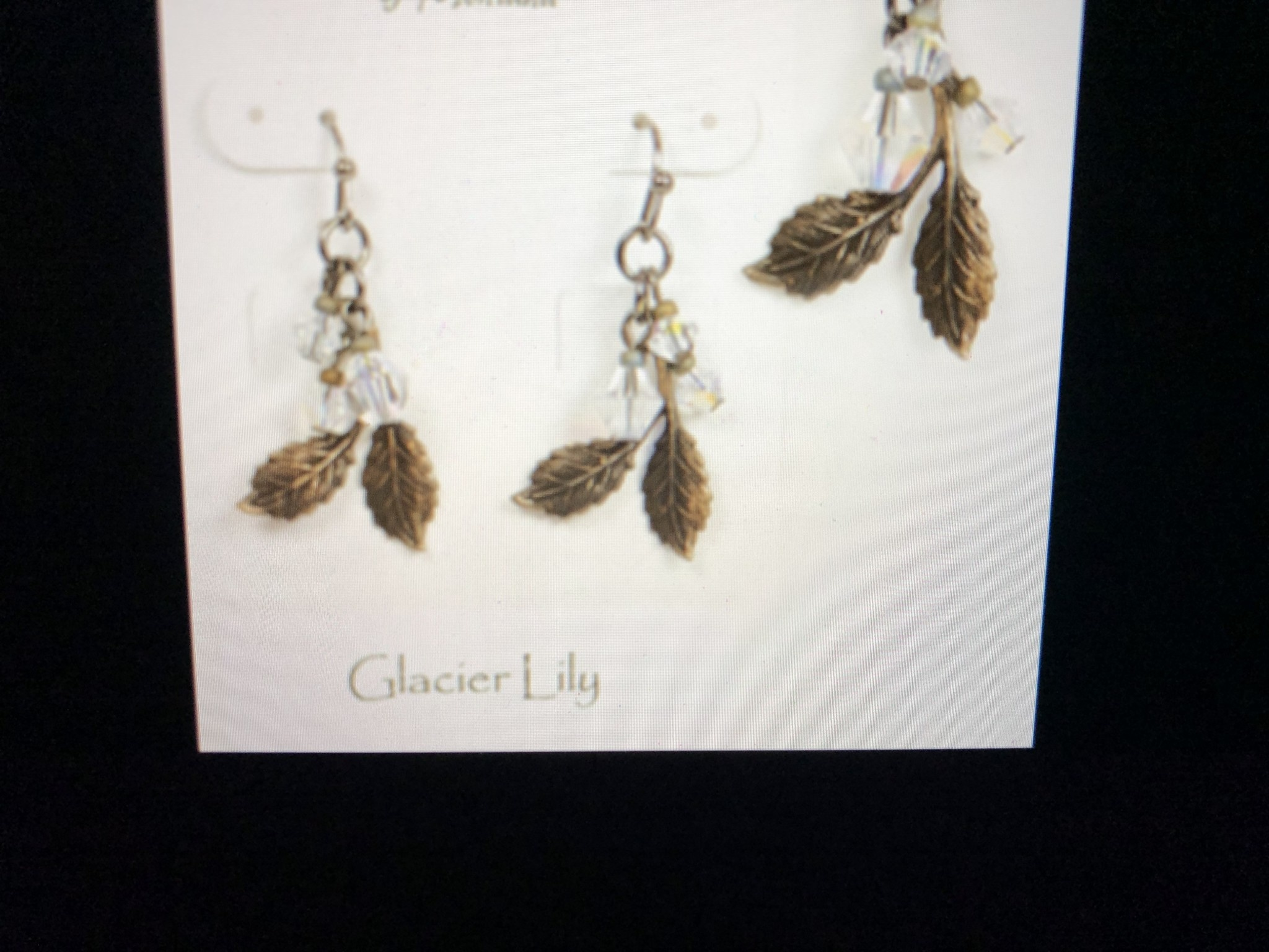 cool water jewelry EW257-60 Glacier Lily-Brass Leaves & Crystals