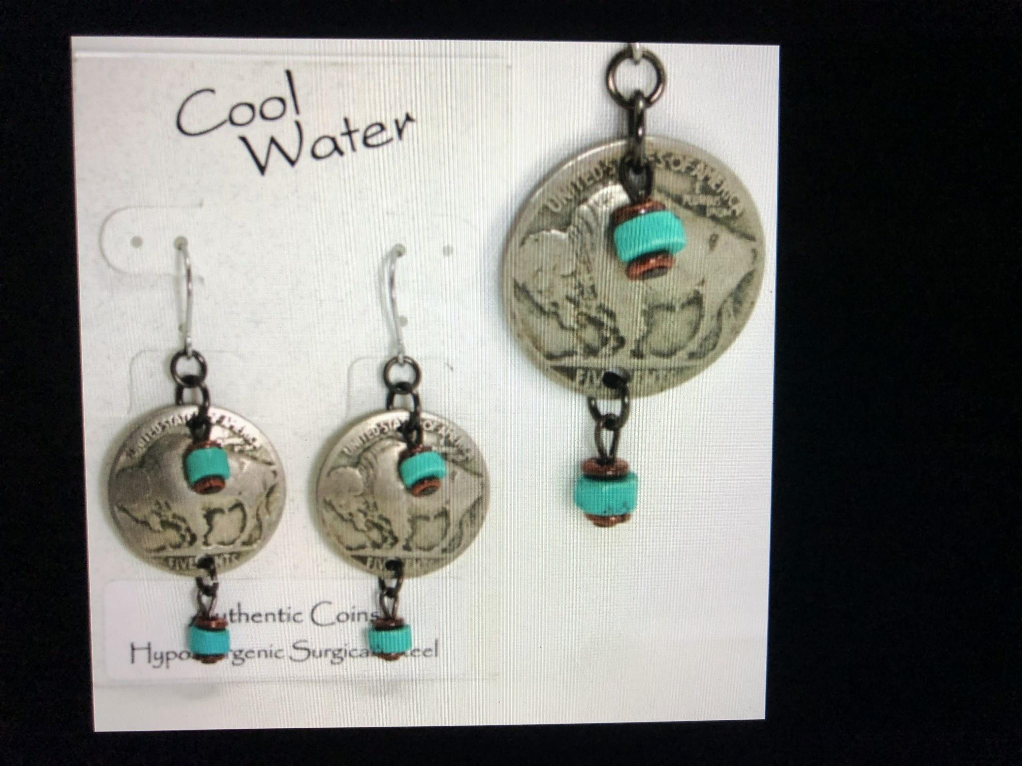 cool water jewelry EW278 Buffalo Nickel & Turquoise Heishi