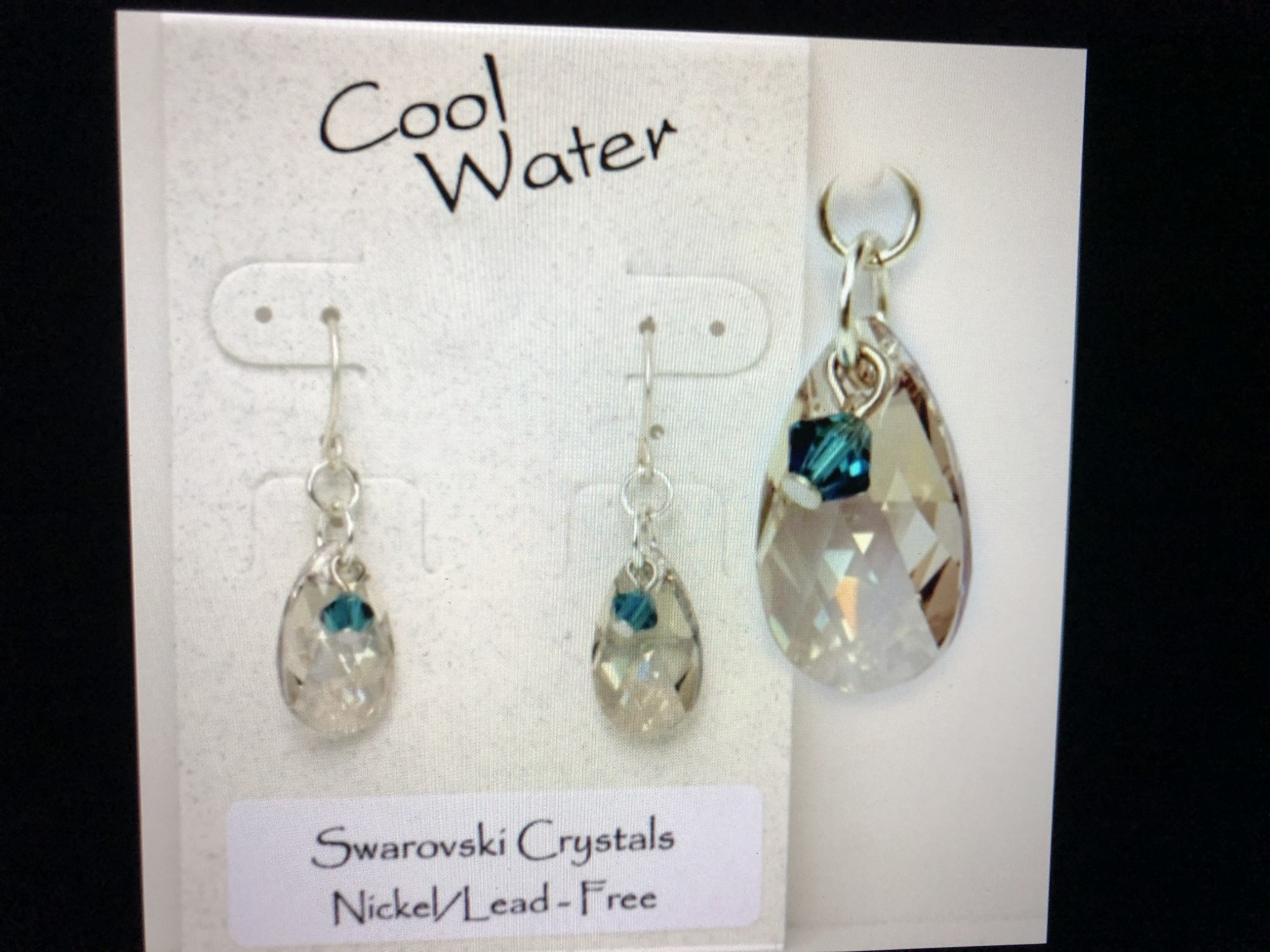 cool water jewelry EW294-114 Indicolite Silver Shade Teardrop & Crystal