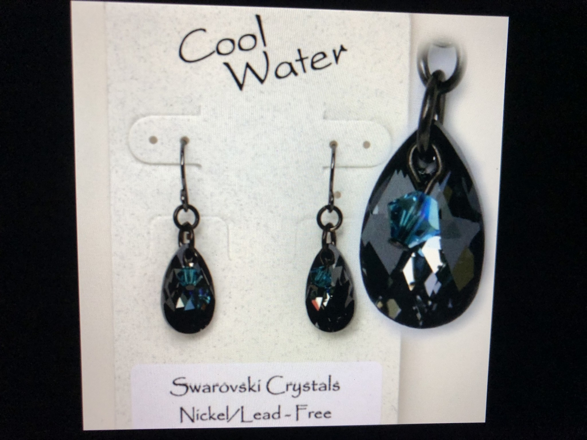 cool water jewelry EW295-114 Indicolite Silver Night Teardrop & Crystal