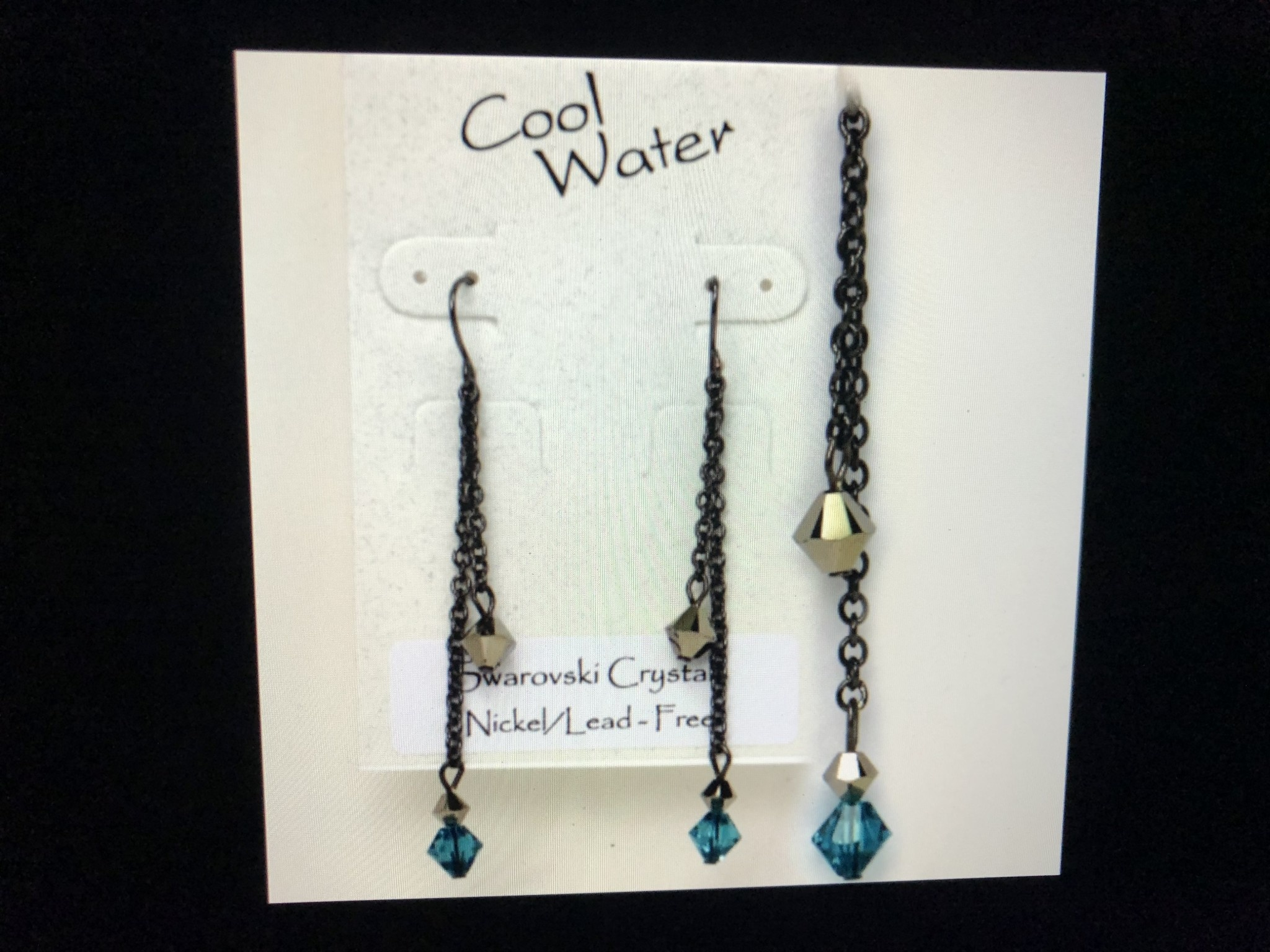 cool water jewelry EW296-114 Indicolite Double w/Crystal Drops