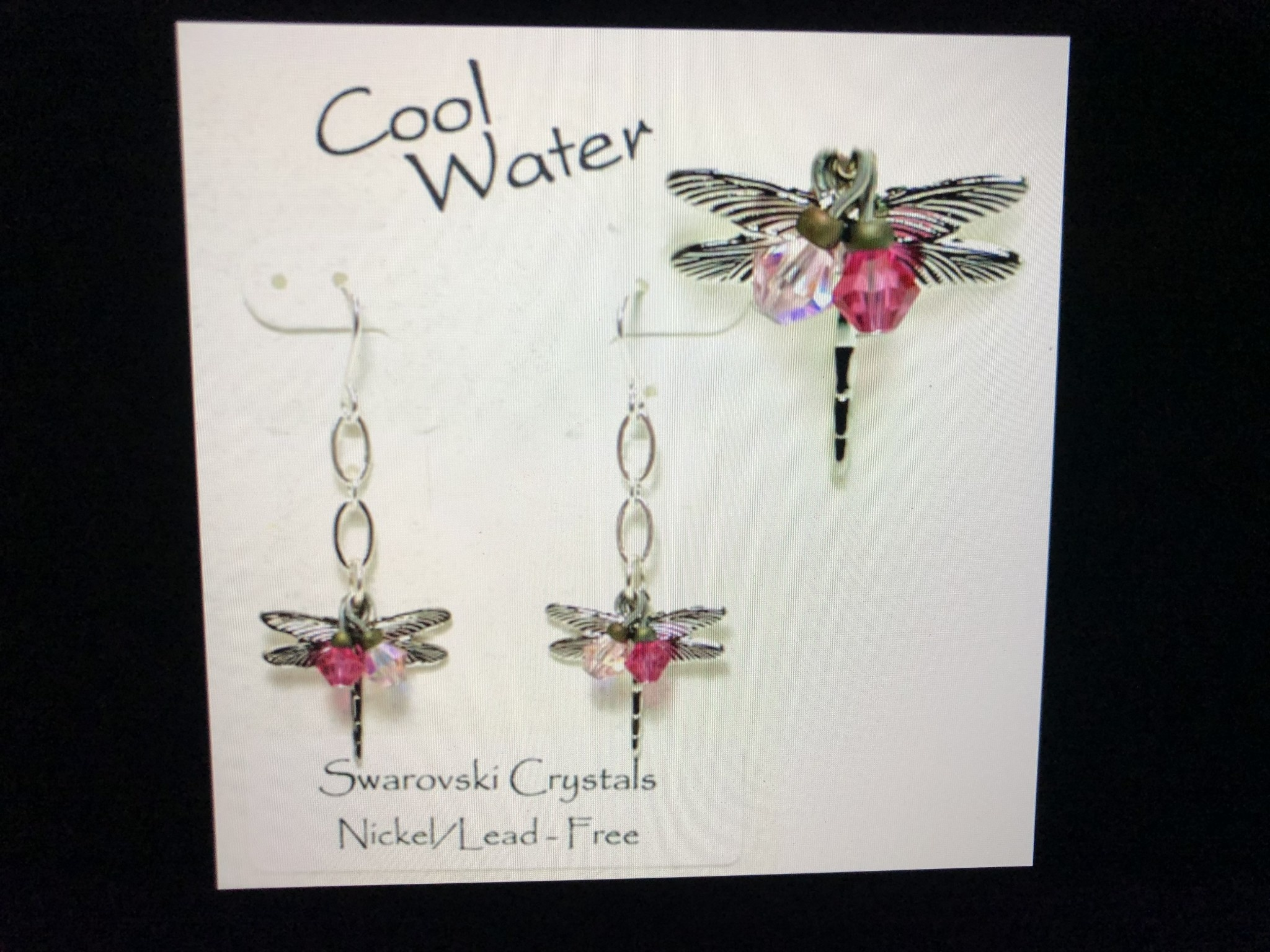 cool water jewelry EW318-124 Watermelon Rose-Dragonfly & Crystals