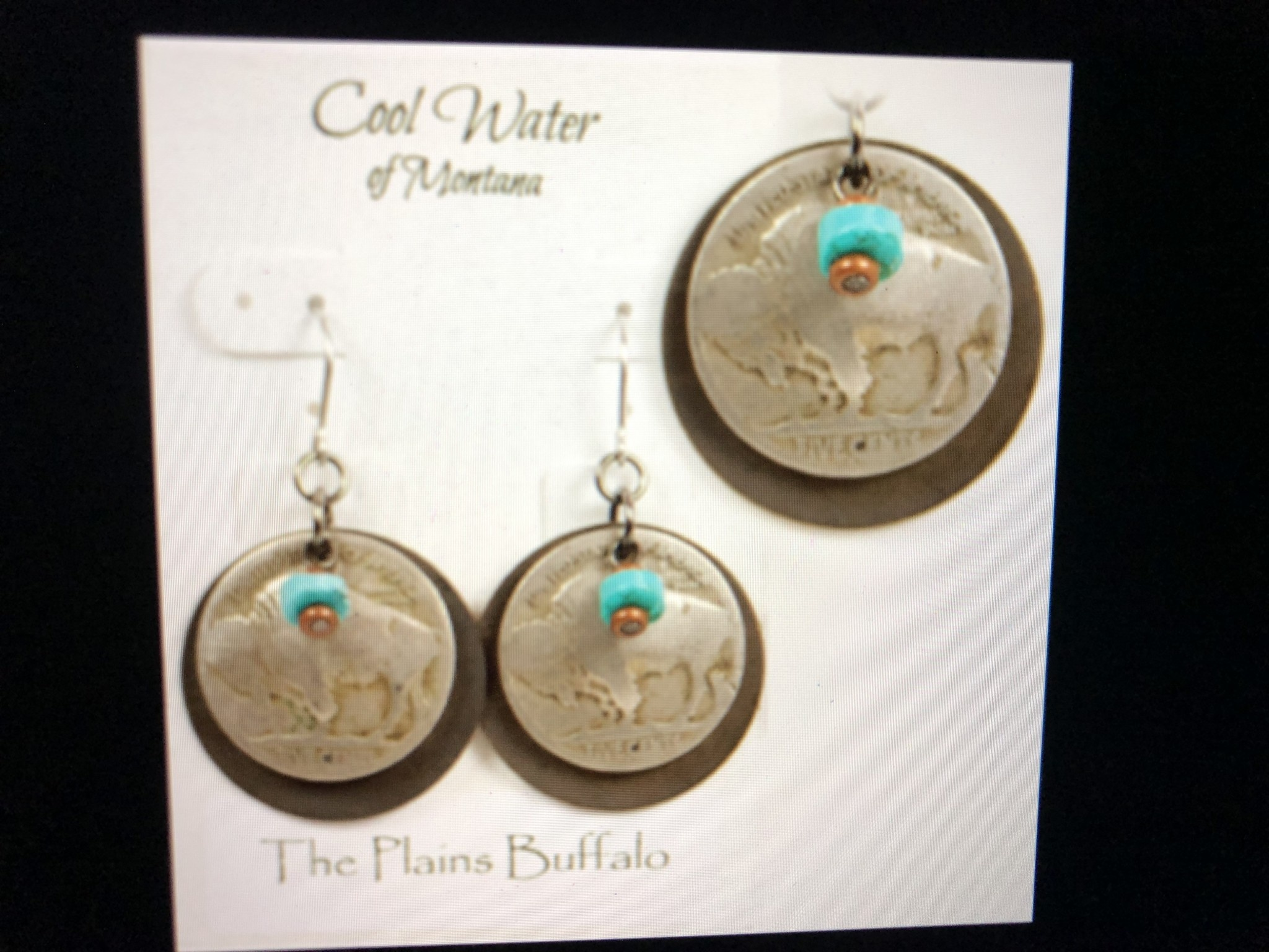 cool water jewelry EW392-62 Brass Disk, Buffalo Nickel, Turquoise