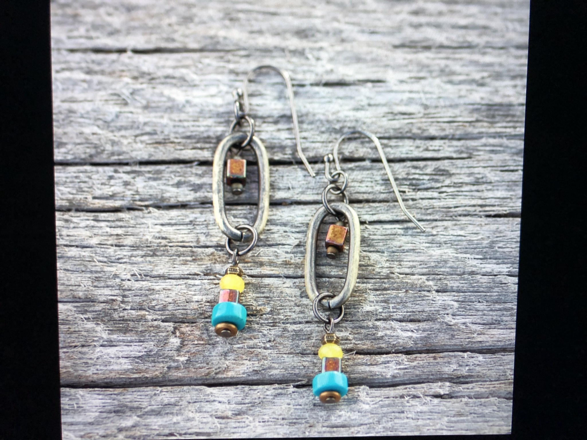 cool water jewelry EW524-177 Front Range Brass Oval & Turquoise Heishi