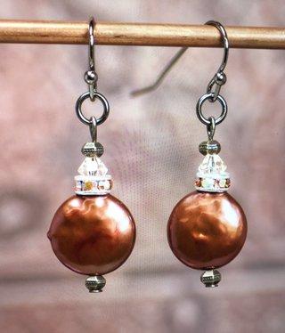 cool water jewelry EW544-181 Rhubarb Cream Freshwater Pearls/Iridescent Rondell
