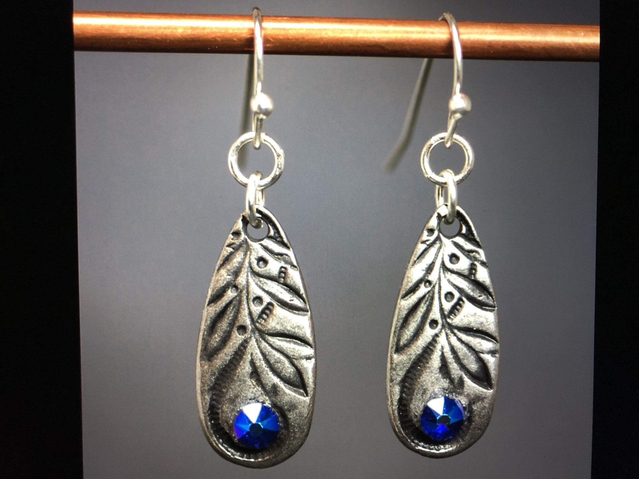 cool water jewelry EW550-69 Blue Jazz Stamped Teardrop & Crystal Earrings