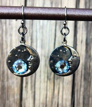 cool water jewelry EW563-195 BL Tie & BL Jeans-Moon Charm/Swarovski Flat Back Crystal