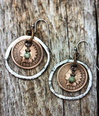 cool water jewelry EW566 Gunmetal Ball Hook w/Indian Head Penny & Turq