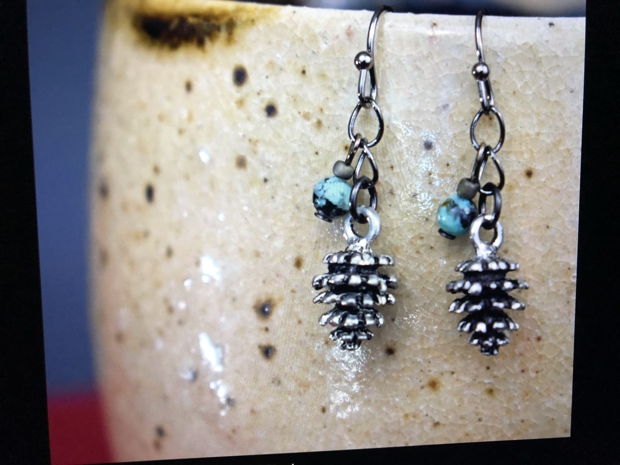 cool water jewelry EW571 Timberline Pinecone & African Turquoise