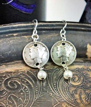 cool water jewelry EW593-190 Liberty-Dime & Pearl Drop