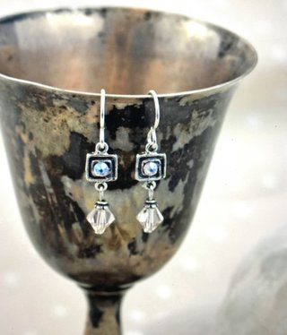 cool water jewelry EW595-182 Sanctuary Sterling Spiral Square/Crystals