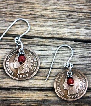 cool water jewelry EW598 Indian Head Penny & Carnelian