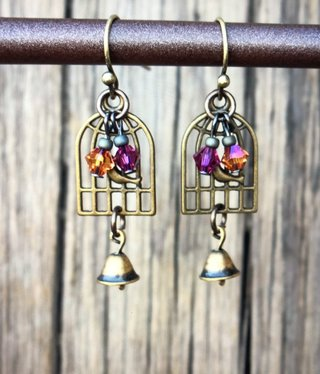 cool water jewelry EW604-192 Carnival Lights-Bird Cage/Bell/Crystals