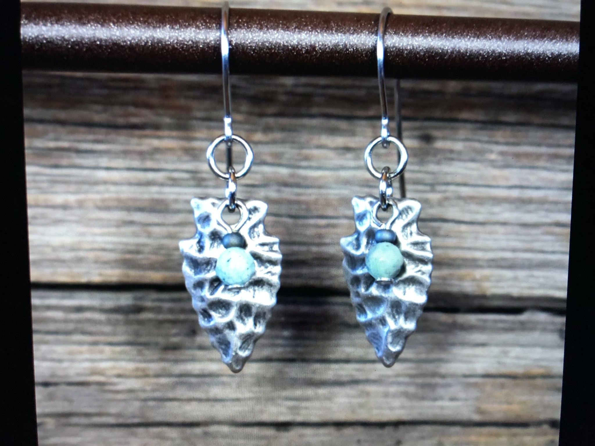 cool water jewelry EW647 Pewter Arrowhead & Turquoise