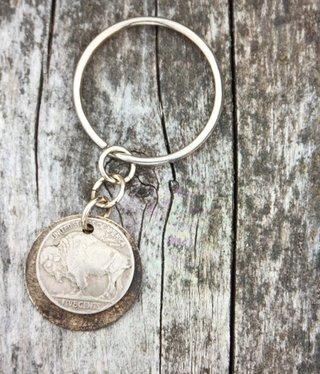 cool water jewelry KC5 Buffalo Nickel w/Brass Disc Key Ring