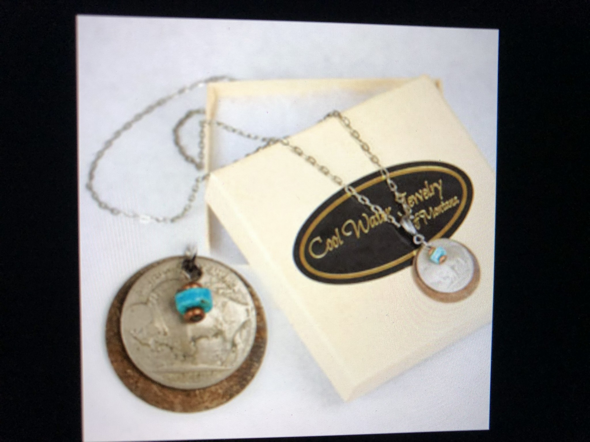 cool water jewelry NC220-62 Necklace: Brass Disc/Buffalo Nickel/Gemstone