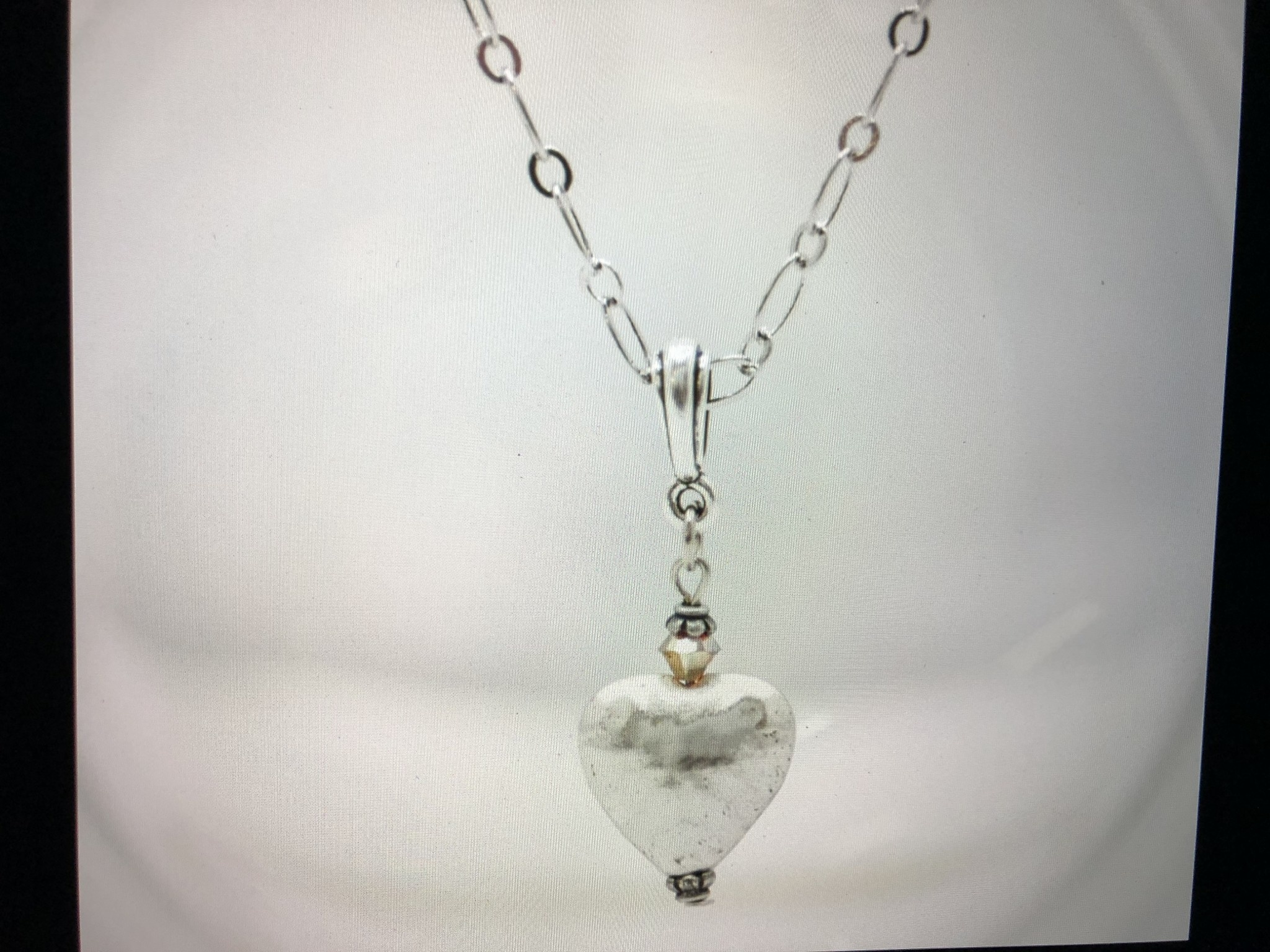 cool water jewelry NC358-180 Necklace: Hammered Heart & Crystal