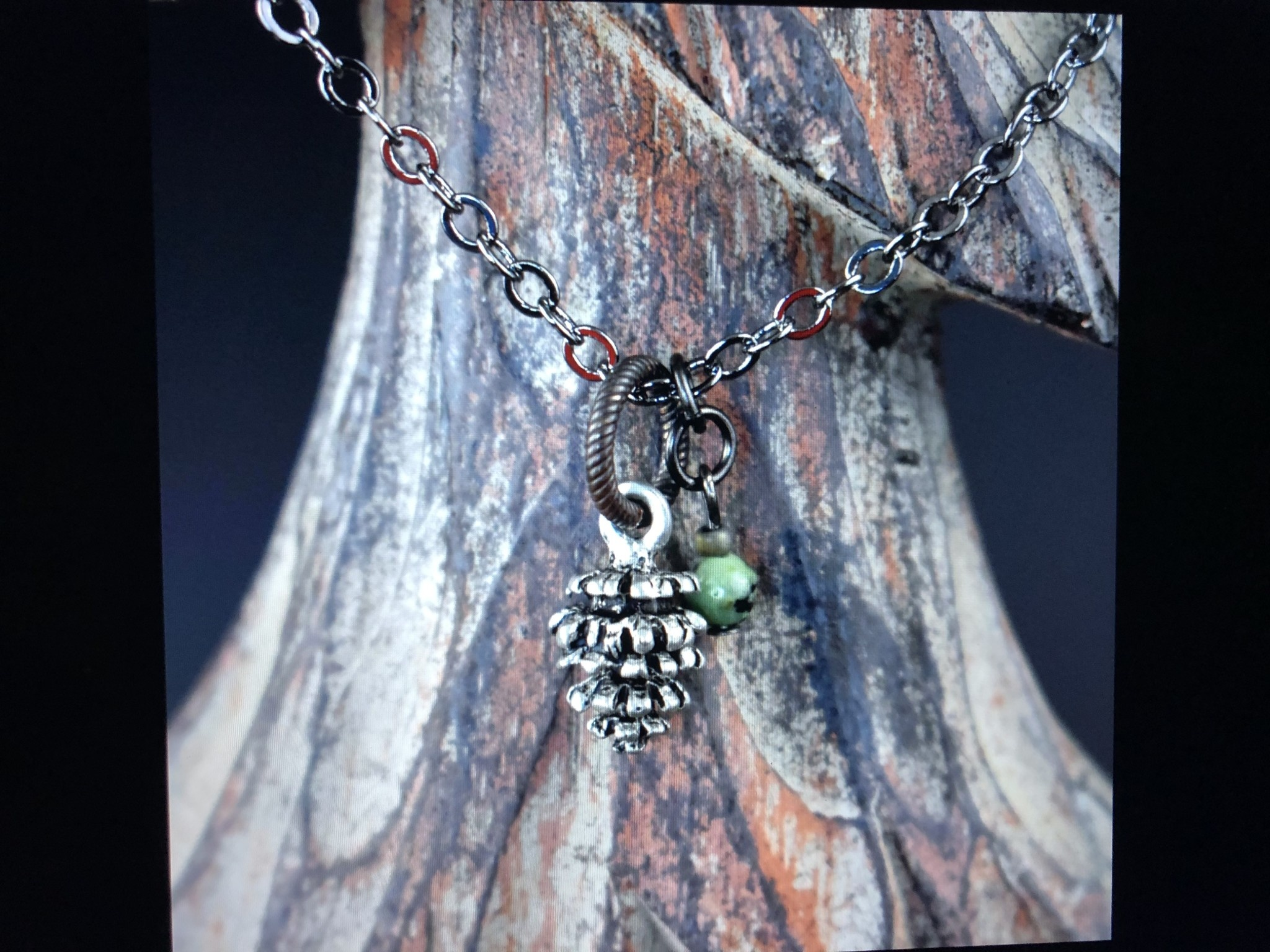 cool water jewelry NC394 Necklace: Timberline-Pinecone & African Turquoise