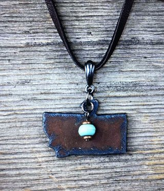 cool water jewelry NC395 Necklace: Leather w/Montana & Turquoise