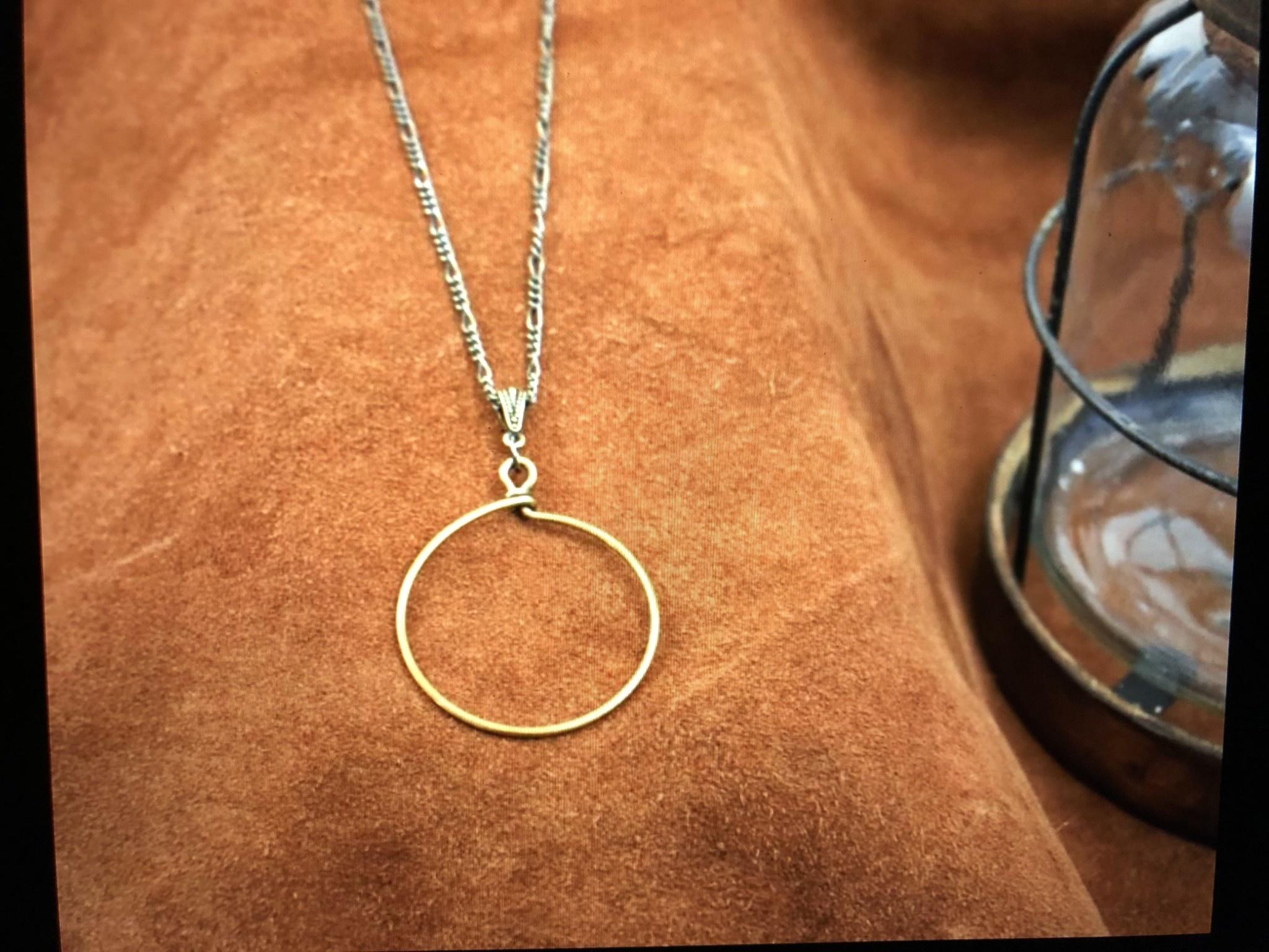 cool water jewelry NC415 Necklace: Brass Figaroe Chain w/Brass Hoop