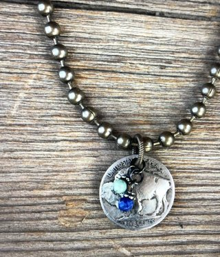 cool water jewelry NC457 Necklace: Timberline-Buffalo Nickel/African Turquoise/Lapis