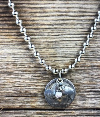 cool water jewelry NC457-201 Necklace: Buffalo Nickel/White Turquoise/Crystal