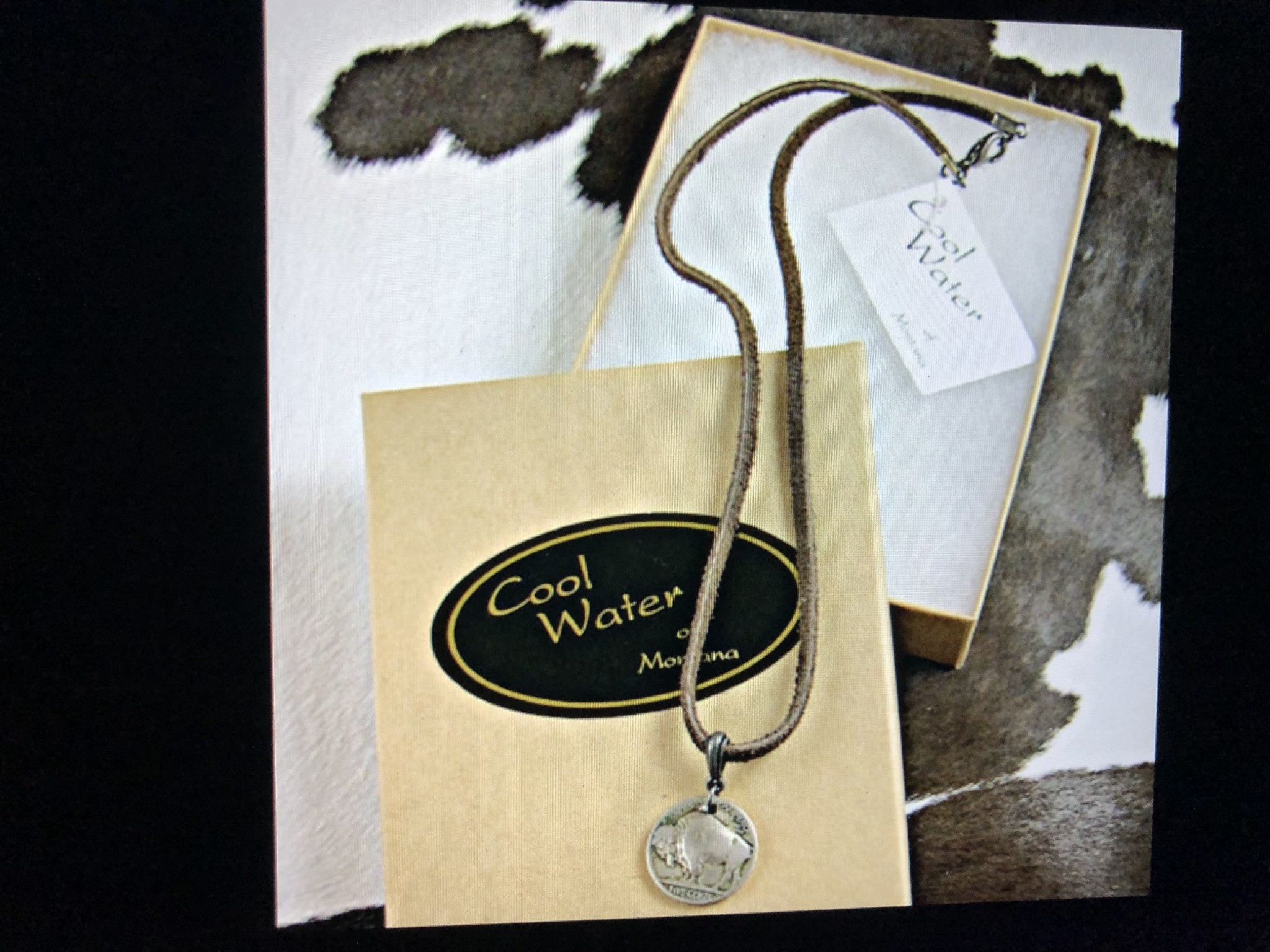 cool water jewelry NLS23 Necklace: Suede Lace w/Bail & Buffalo Nickel