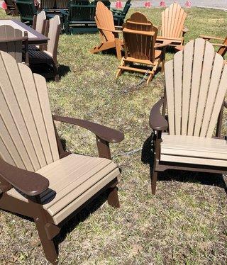 ALBC Poly Fancy Back Adirondack Folding Chair - CHOCOLATE/WEATHERWOOD SO