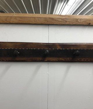 "Juliann Iron Originals 5 Spike w/Wood Coat Rack 39""x6"""