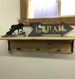 """Co-ALBC 36"""" Hickory Shelf and wood hooks"""