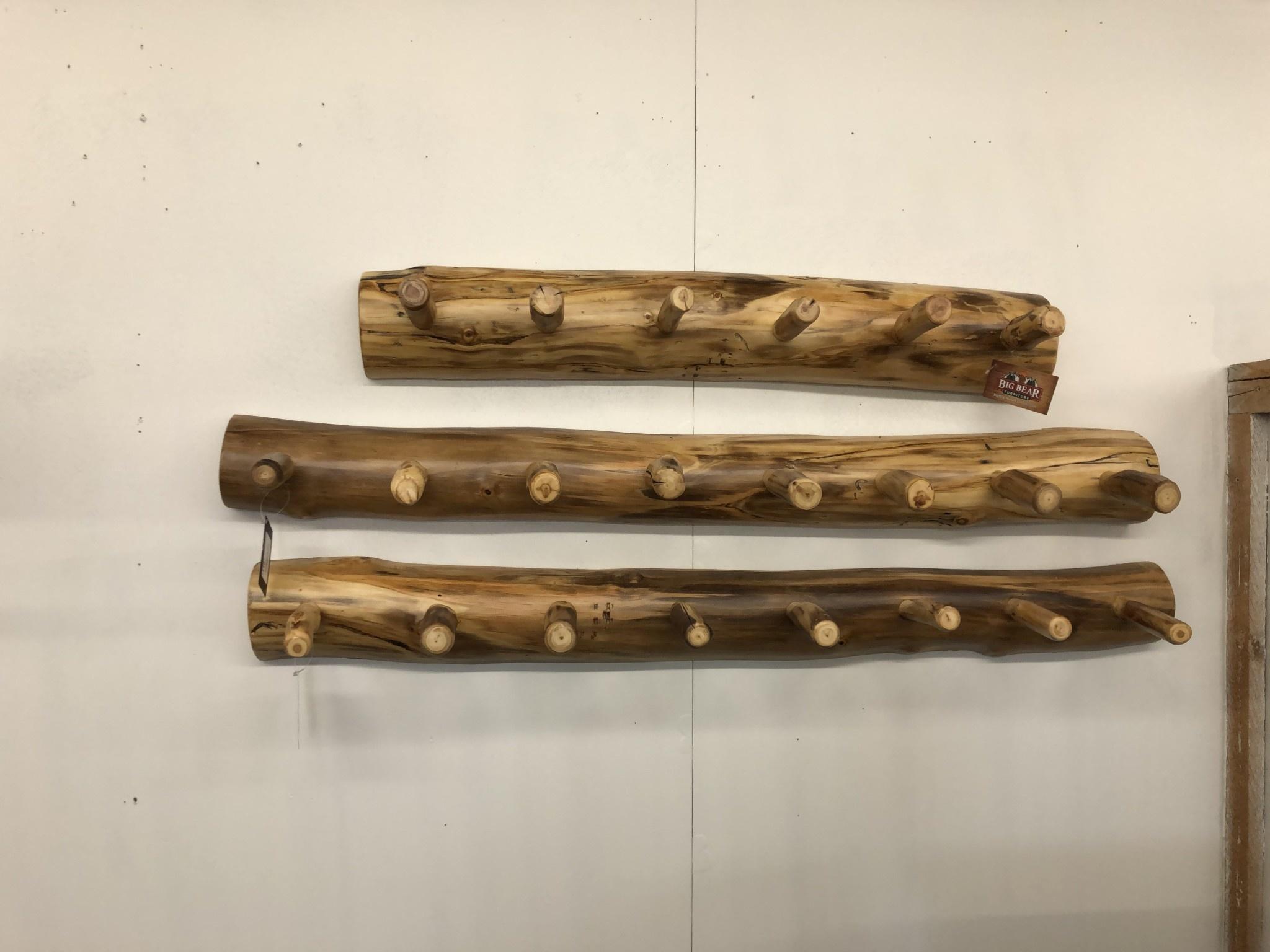 "Rustic log Aspen Coat Rack 48"""