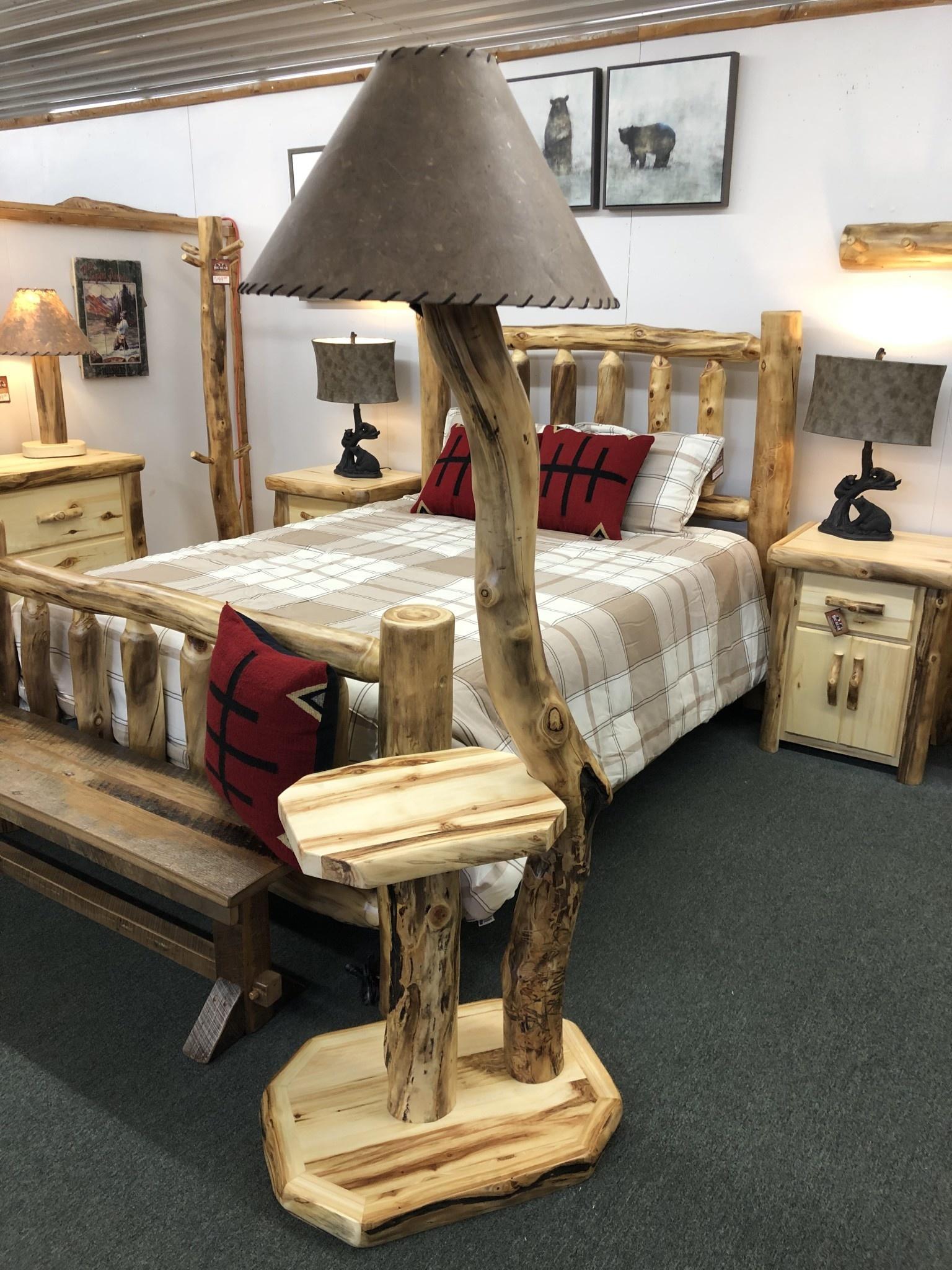 Rustic log Aspen Floor Lamp w/Shelf