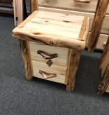 Rustic log Aspen Plain Nightstand with 2 Drawers